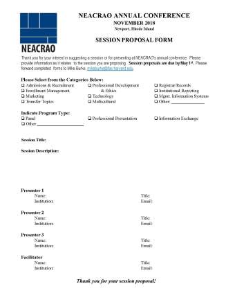 NEACRAO Session Proposal Online Form 2018