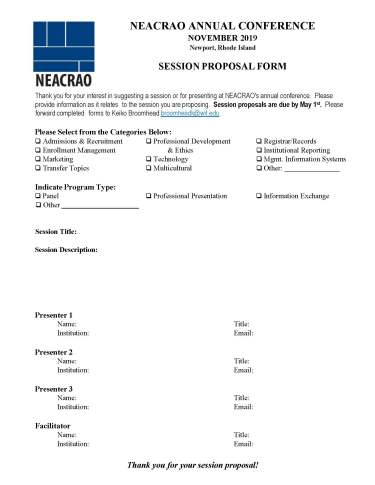 NEACRAO Session Proposal Online Form 2019